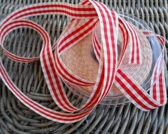 "Country Ribbon Red Gingham 5/8"" width 3 yards"
