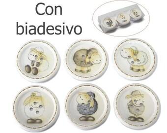 """Sheep Wooden Buttons 12 pcs. 2""""width Assorted"""