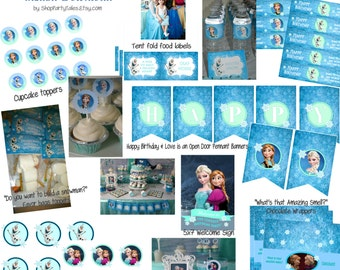 FROZEN disney princess Anna and Elsa Girl Birthday Party Printable cupcake toppers water bottle labels favors thank you instant download
