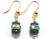 Green Aventurine Gemstone & Rhinestone Crystal Earrings