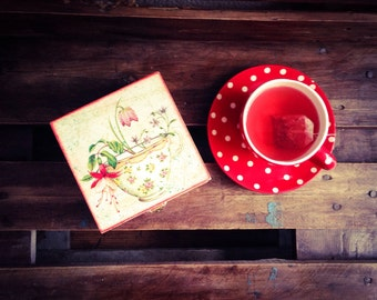 Tea Box, Red Wooden box, Rustic Tea Box with Tea Cup on Top