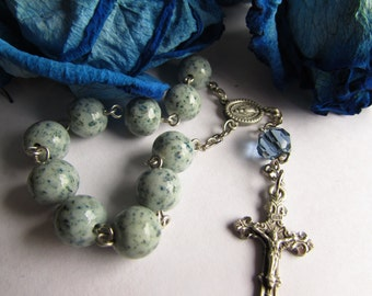 One decade prayer chaplet created using YOUR flowers or fabrics for wedding, Christening, memorial, gift