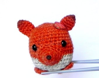 Amigurumi crochet stuffed mini toy doll - Little orange fox MochiQtie