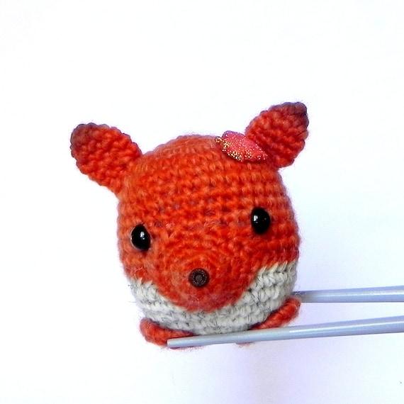 Amigurumi Mini Dolls : Amigurumi crochet stuffed mini toy doll Little orange fox