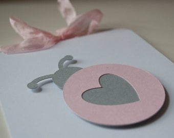 Ladybug Baby Shower Invitations Baby Girl First Birthday Pale Pink Heart and Gray Lady Bug