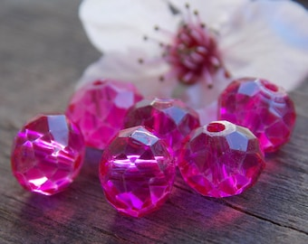 20 Hot Pink Crystal Beads Rondelle 8mm