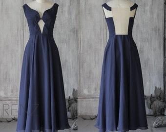 2015 New Navy Bridesmaid dress, Wedding dress, Party dress, Formal dress, Prom Dress, See Through Mesh Back floor length (F052)