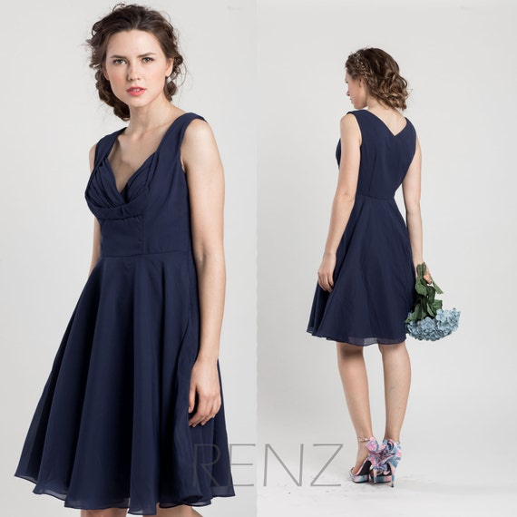 Navy blue bridesmaid dress short wedding dress chiffon party for Navy blue dresses for weddings