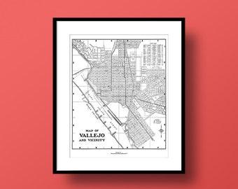 Vallejo California Map, Fine Art Print, Premium Canvas Gallery Wrap