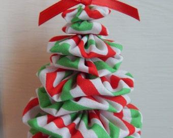 Red, Green and White Chevron Tree Ornament