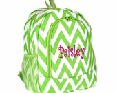 Personalized  Chevron Backpack - Girls Canvas Booksack Lime Green Zig Zag Full Size School Backpack Monogrammed FREE