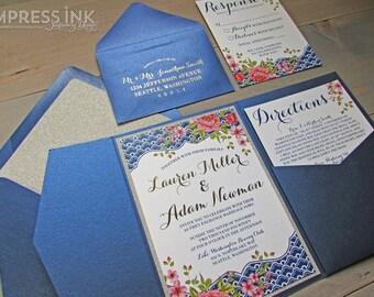 Italian Riviera Floral Wedding Invitation Sample | Flat or Pocket Fold Style