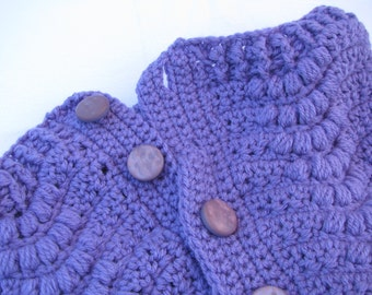 Purple Cowl, Button Up Cowl, Neck Warmer, Winter Wear, Knitted Scarf, Knitted Cowl