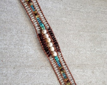 handmade beaded with copper wire bracelet