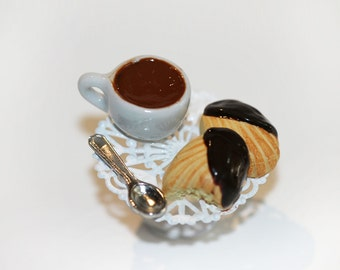French Pastry Ring -Hot Chocolate and Madeleine French Pastry Ring - Kawaii Ring - Food Ring