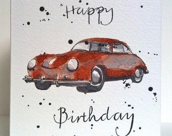 Birthday Card - Vintage 1960 Porsche- Illustration - Art