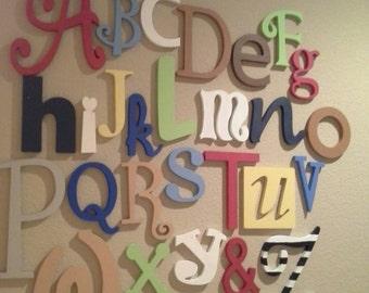"Sale! Wooden Alphabet Letter Set -5"" to 10"" letters - ALphabet Wall decor- Hanging wall Letters-Nursery Letters-Alphabet letters"