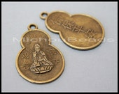 5 ANTIQUED Gold Quan Yin Focal Pendant - 33x22mm Flat Brass Charm w/ Chinese Safety / Peace Buddhist Blessing Symbol -  USA Wholesale - 5964