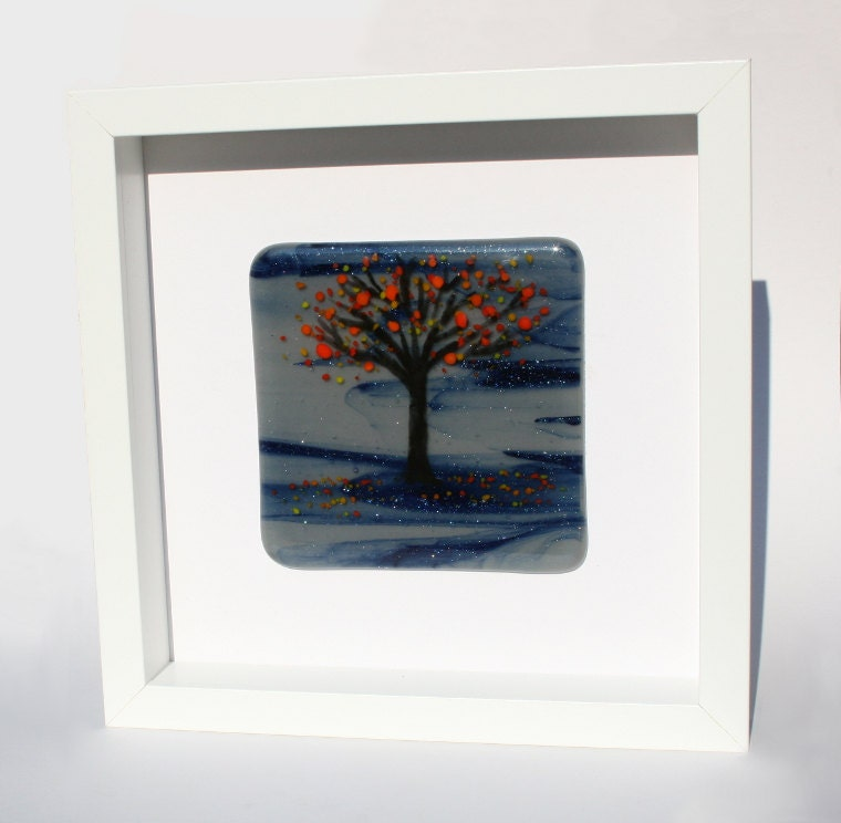 Fused Glass Wall Art: Fused Glass Art Wall Panel Autumnal Tree