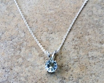 Aquamarine Pendant- March Birthstone - Genuine Aquamarine 6 mm with chain in Sterling Silver or Gold