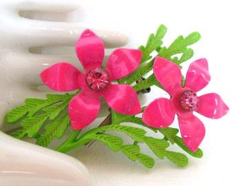 Vintage Enameled Brooch Flower Rhinestones Hot Pink Green 60's (item 166)