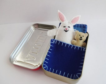 white felt bunny in tin - Wee Bunny in Altoids Tin House with blue bedding - travel toy - pocket toy - purse toy - ready to ship