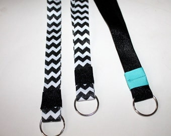Ribbon Lanyards Chevron and Glitter Choose Your Color and Size