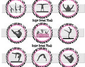 INSTANT DOWNLOAD Hot Pink Zebra Gymnastics 1 inch circle Bottle cap Images