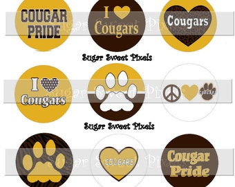 INSTANT DOWNLOAD Cougars Brown Yellow Gold School Mascot 1 inch circle Bottle cap Images