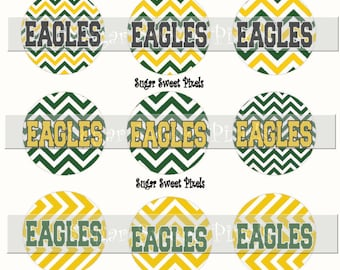 INSTANT DOWNLOAD Eagles Chevron Green Yellow Gold School Mascot 1 inch circle Bottle cap Images