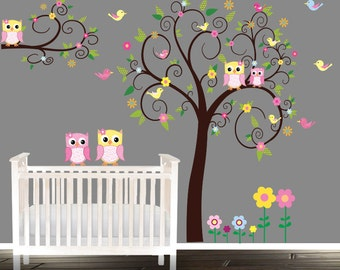 Floral tree owl decal nursery wall stickers owl tree nursery for Collant mural hibou