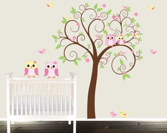 Owl wall decal - nursery decals - stickers abre - Wall decals nursery - nursery owl wall decals - girls - pink yellow