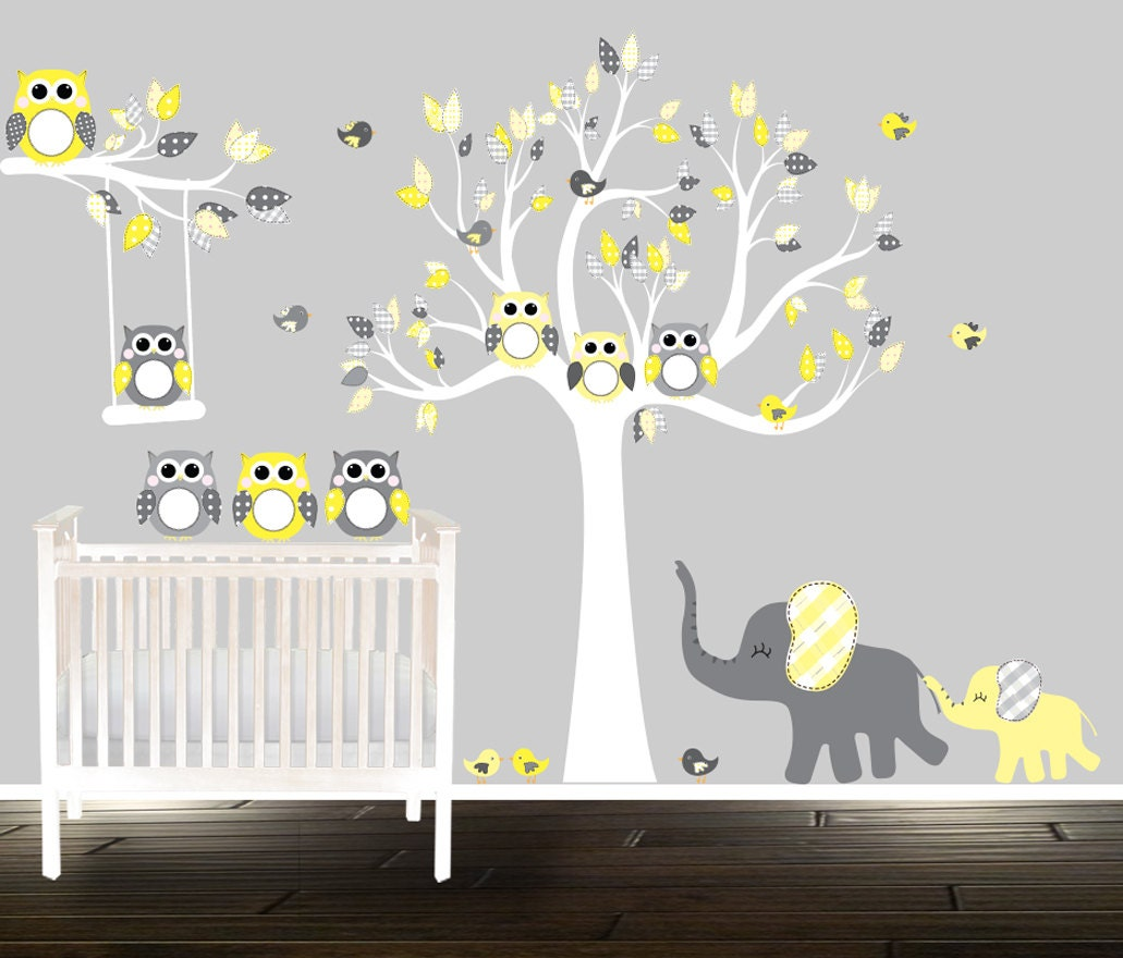 peel and stick owl wall decals tree wall stickers removable. Black Bedroom Furniture Sets. Home Design Ideas
