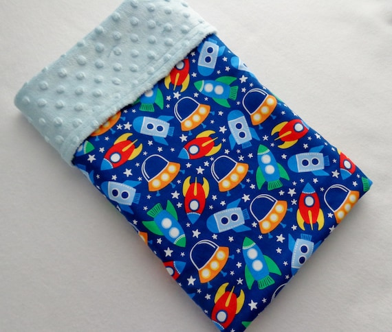 Space ship print fabric soft minky baby blanket by for Space baby fabric