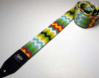 Handmade double padded Fiesta Chevron guitar strap