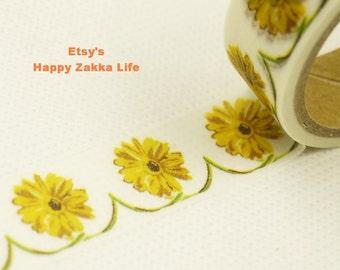 Yellow Daisy - Japanese Washi Masking Tape - 5.5 yards