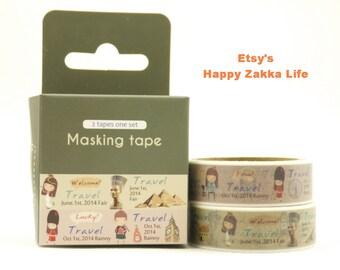 Japanese Washi Masking Tape Box Set - Travel Series - Egypt - 2 rolls - 5.5 Yards (each roll)