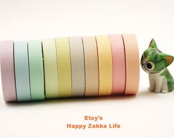 Light Color Narrow Tape Set  - Japanese Washi Masking Tape Set - - 7mm wide - 5.5 Yards (each roll) - 10 rolls