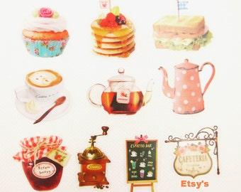 Translucent Flake Sticker Set - Photo Soup Series - Cafe - 10 Designs - 70 Pcs