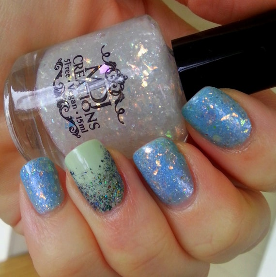 Opalescent Nail Polish: New Opal Flakie Top Coat Opalescent Colorshifting Flakes 5