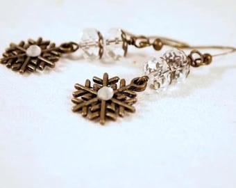 SALE Snowflake Earrings, Bronze and Crystal Earrings, Pierced Earrings, OOAK Handmade Earrings, CKDesignsUS