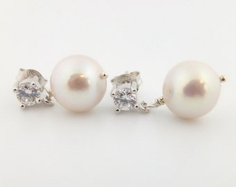 Pearl earrings, Edison pearls, bridal jewelry, wedding, white, drop, stud, post, freshwater, sterling: Simply Adorned