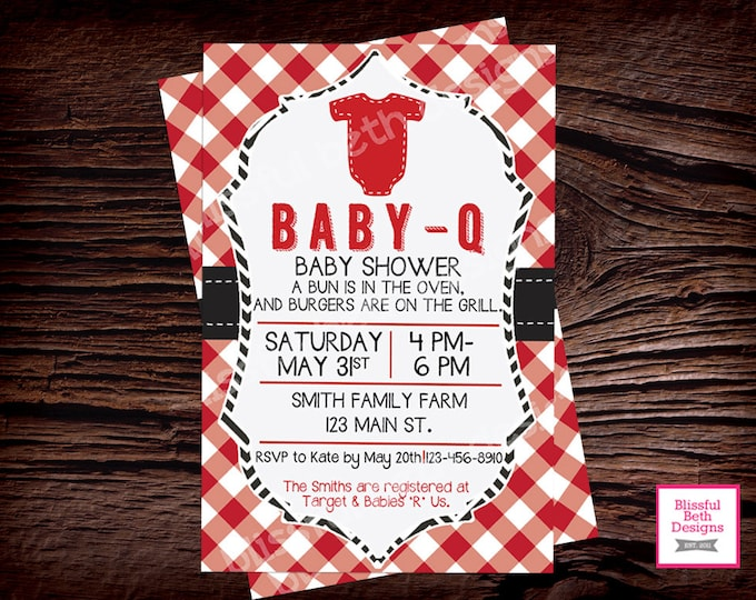 Baby-Q  Baby Shower Invitation Package BABY-Q Shower Invitation Bun in the Oven, Burgers on the Grill Baby-Q Printable Package, BABY-Q