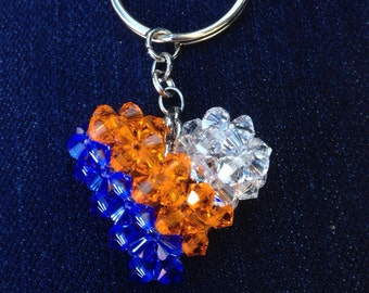 Denver broncos keychain, crystal heart, beaded heart, 3d heart, swarovski