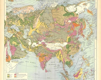 1930s Vintage Geological Map of Asia