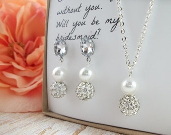 Wedding Pearl Jewelry Set, bridal jewelry set, bridesmaids jewelry set