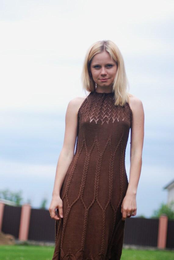 Silk hand knit dress aran cocktail dress - custom made