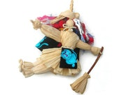 Kitchen Witch Doll Halloween Witch Doll Corn Husk  HAGUILD Bright and Natural