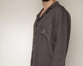 Just Classical Linen Pajama Shirt for Men