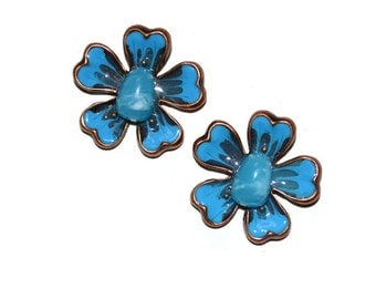 Dogwood Flower Pendants Set of Two Turquoise Enamel Stone and Copper Supplies Jewelry Supplies